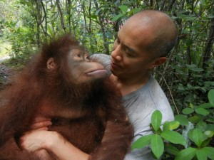 Prof. Charlie Teo with female orangutan named Hockey - high res (1)
